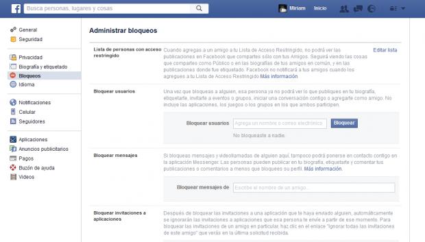 trucos privacidad Facebook bloqueo usuarios